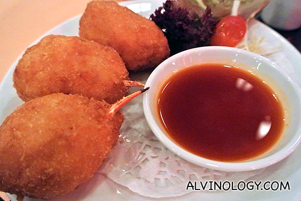 Deep-fried crab claw stuffed with minced shrimps