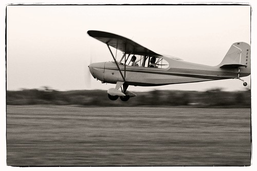 sunset bw monochrome airplane flying airport nikon dusk michigan aviation grain annarbor champ onone aeronca generalaviation fakefilm lookslikefilm d3000 7ac annarborairport aperture3 perfectphotosuite
