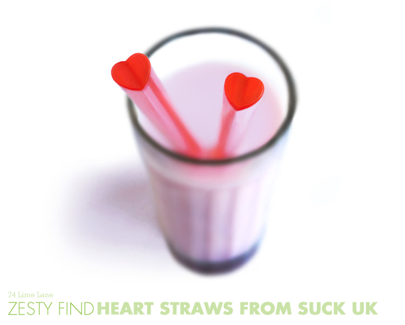 {zesty find} heart straws from SUCK UK