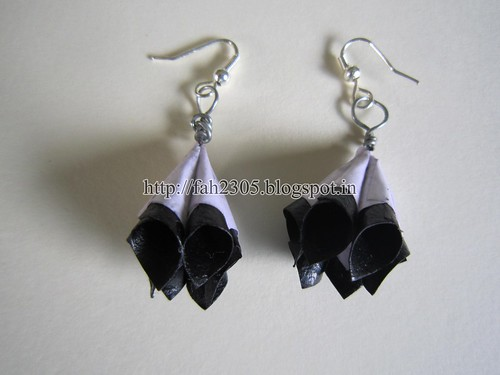 Handmade Jewelry - Paper Cone Earrings (Black and White) (1) by fah2305