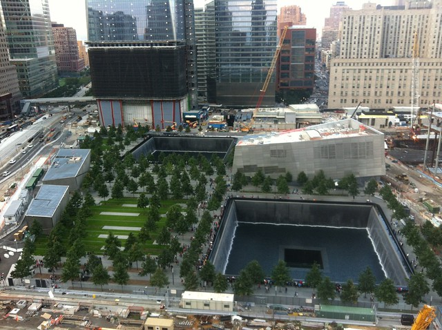 View of the World Trade Center memorial from the hotel bar -