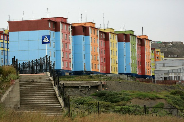 Painted Apartment Blocks Anadyr Chukotka Far East Russia