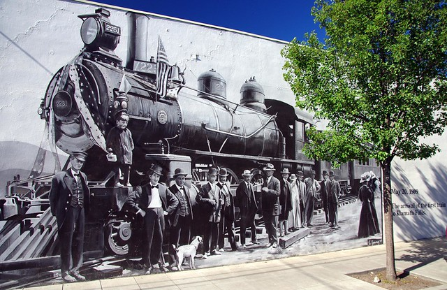 street art May 20th 1909 First Train arrives at Klamath Falls, Oregon
