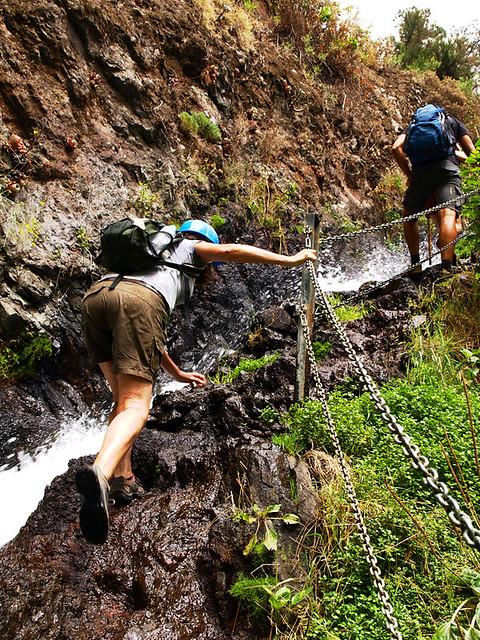 Climbing beside Marcos y Cordero Springs, La Palma