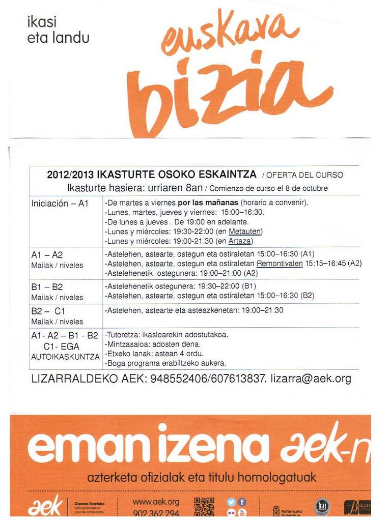 Lizarrako euskaltegiko 2012-13ko gelak