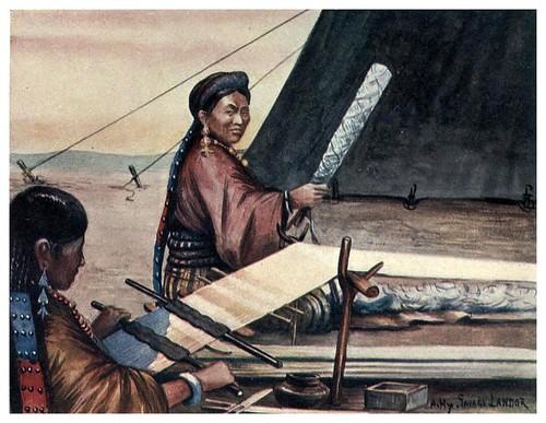 014-Mujeres tibetanas tejiendo-Tibet & Nepal-1905-A. H. Savage-Landor