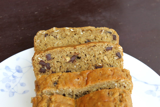 Chocolate Chip Oatmeal Quick Bread with dairy free option