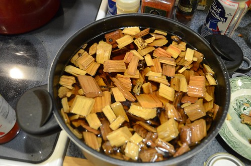 Soaking Hickory Chips