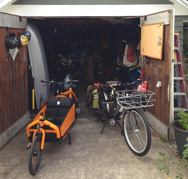 Ethan and Kellie two cargo bike garage