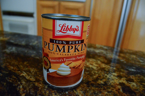 A can of pumpkin pie filling.