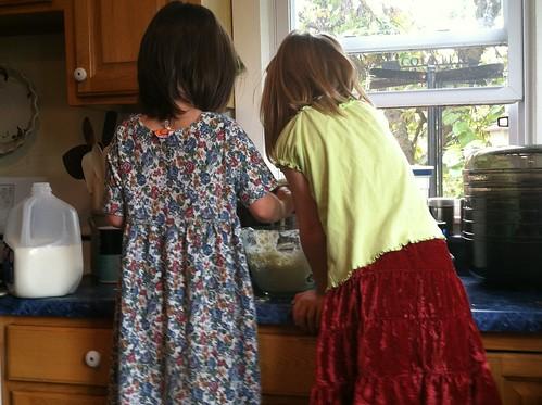making pancakes with Pa