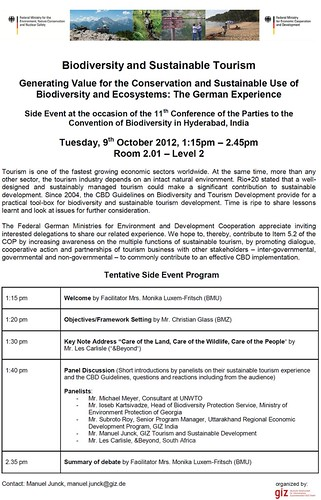 Oct 9 - Biodiversity and Sustainable Tourism: The German Experience