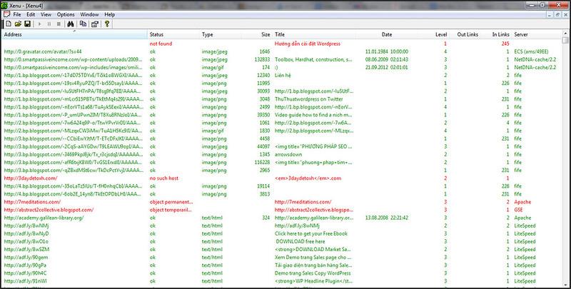 Các liên kết được liệt kê trong Xenu's Link Sleuth