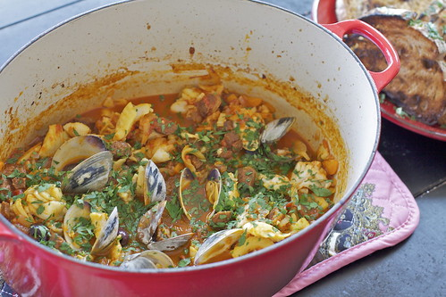 Braised Swordfish with Chorizo and Clams