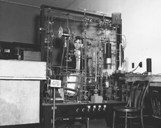 John Mui in a chemistry lab at Mason Hall in 1954