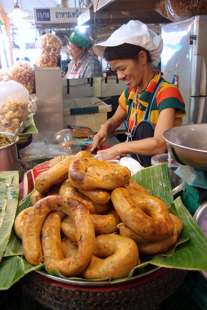Or Tor Kor Market: Jumbo Herbal Sausage