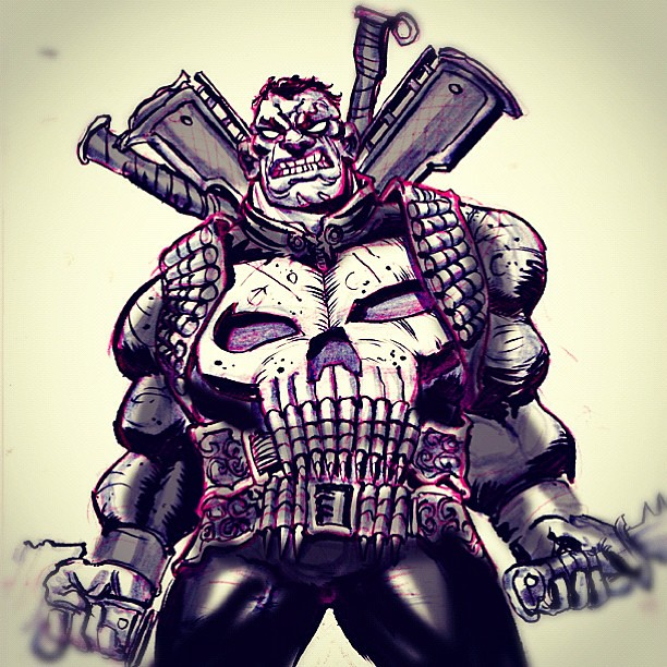 #inktober Day 4 The Punisher Lives!