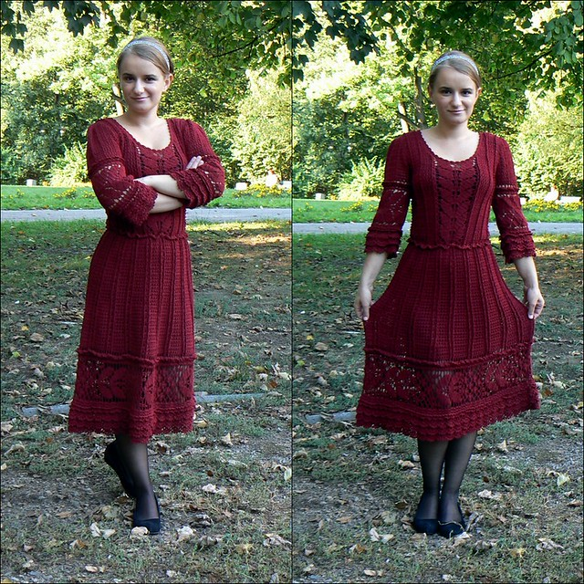 Dark red crochet dress inspired by Vanessa Montoro.