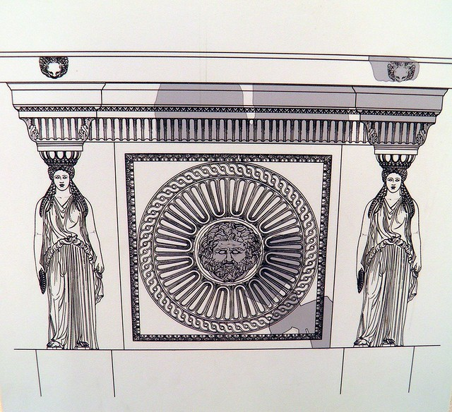 Drawing of the porticoes' attic of the Forum of Augustus, Museo dei Fori Imperiali, Rome