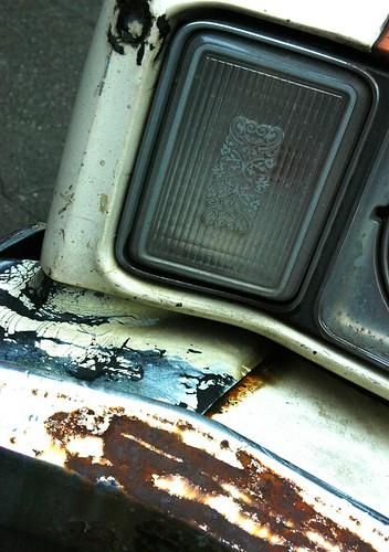 Delicate detail, light, Crazy 'bout my Mercury, car detail, rusted bumper, Seattle, Washington, USA by Wonderlane