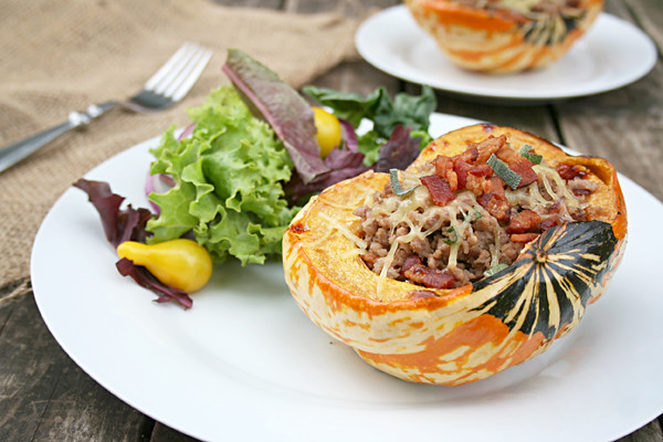 Stuffed Heirloom Squash with Sausage, Bacon, Caramelized Onions, and Sage