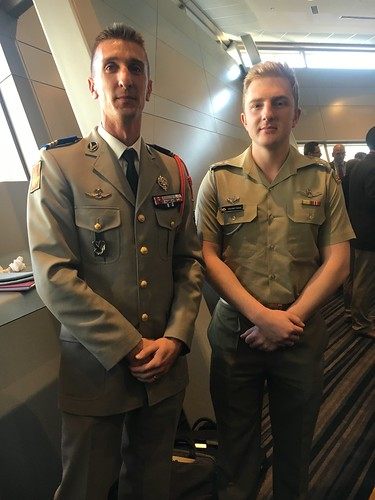 French Tiger pilot with a newly graduated Australian Tiger pilot at Land Forces Conference 2016
