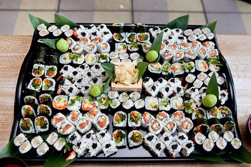 Huge platter of sushi maki