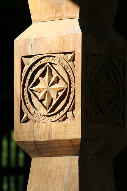 Norwegian chip carving or quot karveskurd porch support
