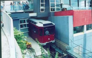 The peak tram prepares to return