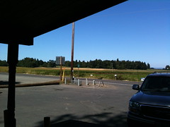 Looking east from the grocery store by the bridge to Sauvie Island