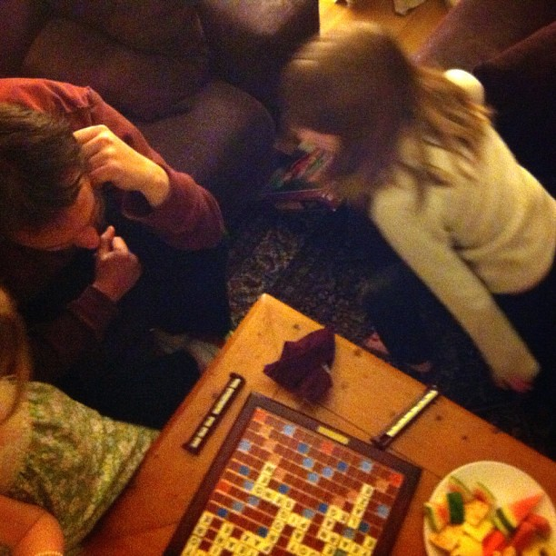 Last night. First scrabble game for the 9-year old. #scrabble #spelling #unschooling