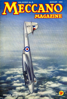 Meccano Magazine August 1951 Front Cover, Gloster Meteor