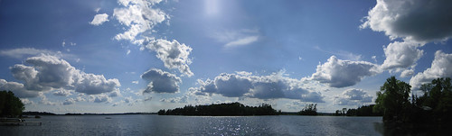 lake clouds horizon panoramic