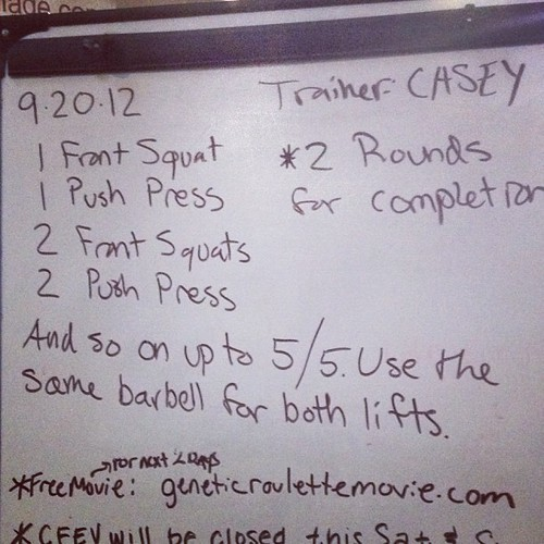 Late post of today's #wod. Much harder than it looked. #crossfit