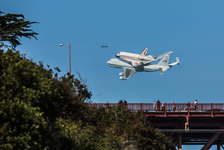 Endeavour Flies by the Golden Gate Bridge