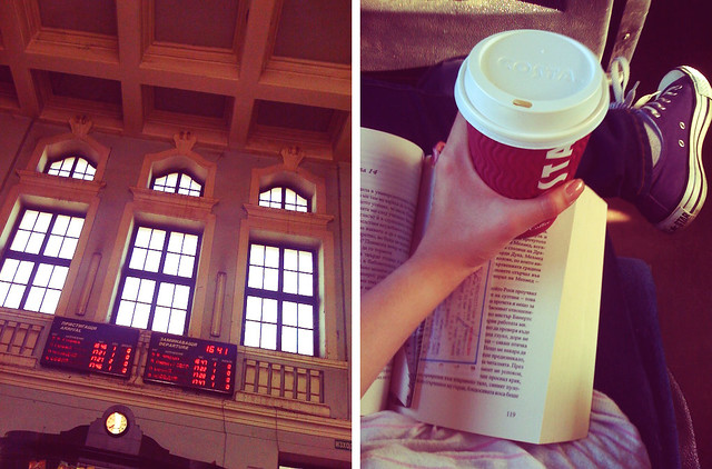 At the train station, wearing Converse sneakers, reading a book and having a coffee from Costa