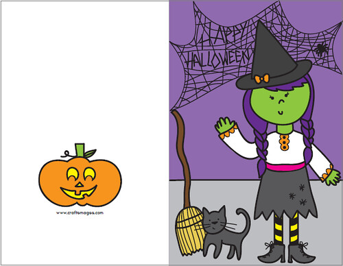 Effortless image throughout free printable halloween cards