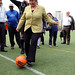 UN Women Executive Director Michelle Bachelet kicks off a friendly match between the UN football team and the team of Bolivian President Evo Morales