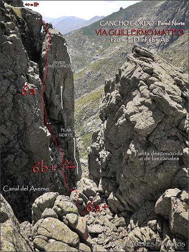 RESEÑA VÍA GUILLERMO MATEO -120 m EDinf  6b+ Ao -RISCO GORDO NORTE - RISCOS DE VILLAREJO