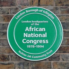 Photo of London Headquarters of the African National Congress green plaque