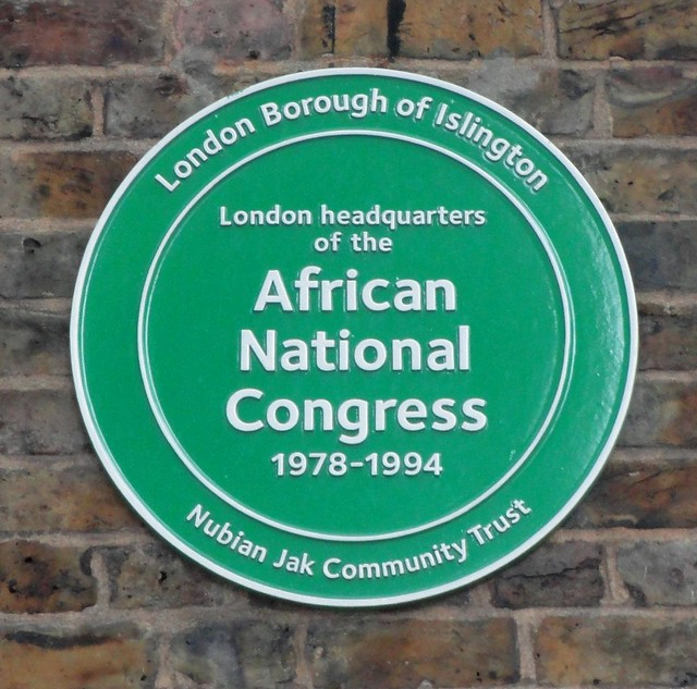 London Headquarters of the African National Congress green plaque - London Headquarters of the African National Congress 1978–1994