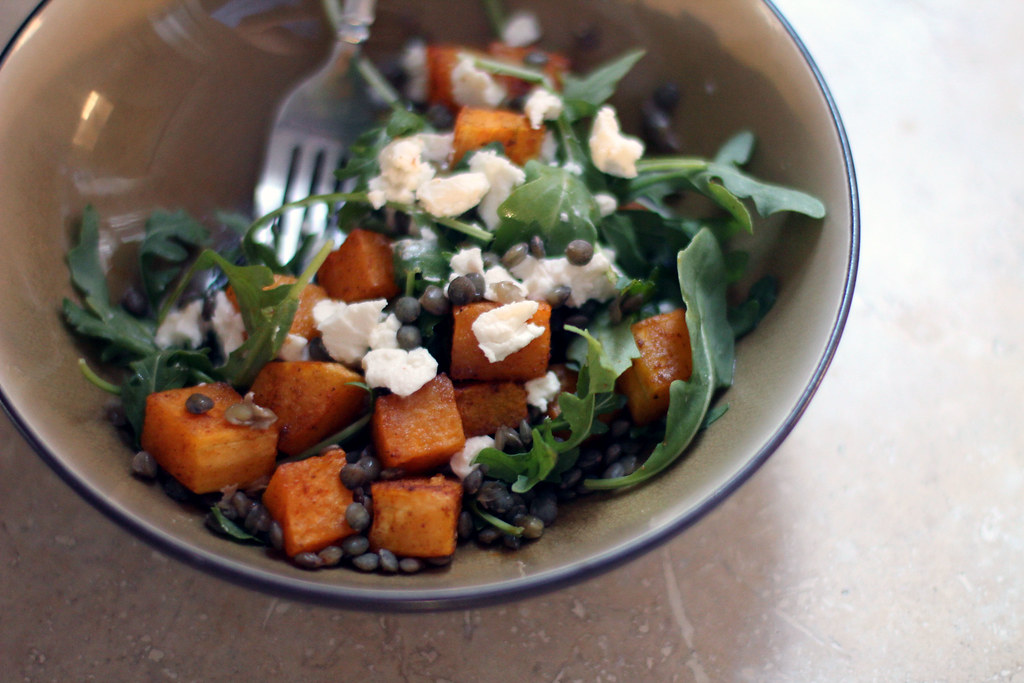 spicy squash, lentil, goat cheese and arugula salad