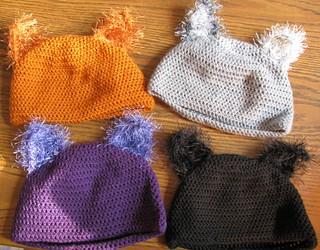 Crocheted cat hats