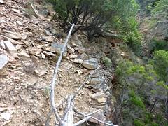 Entre Livisani et le col de la pointe 571 : dégradations du chemin au premier ruisseau