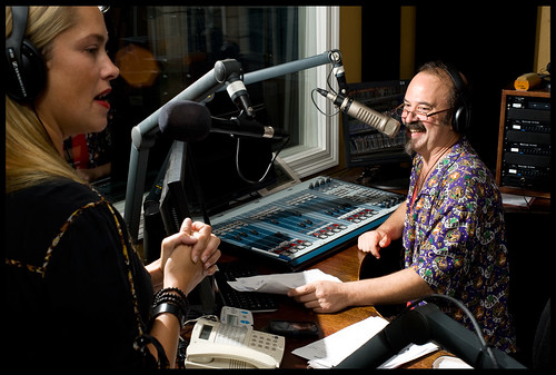 WWOZ's Lauren Del Rio with show host Bill DeTurk on air during the New Orleans Music Show. by rhrphoto.com