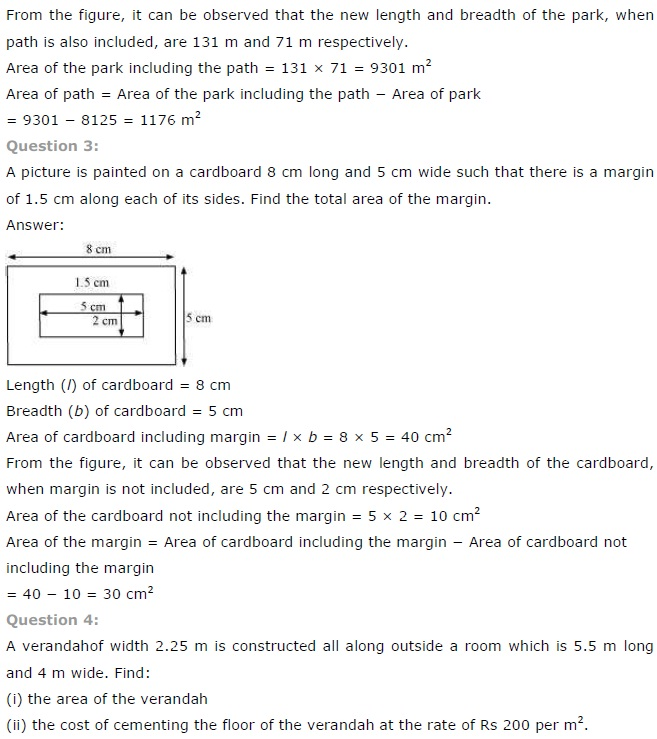 NCERT Solutions for Class 7 Maths Chapter 11 Perimeter and Area Exercise 11.4