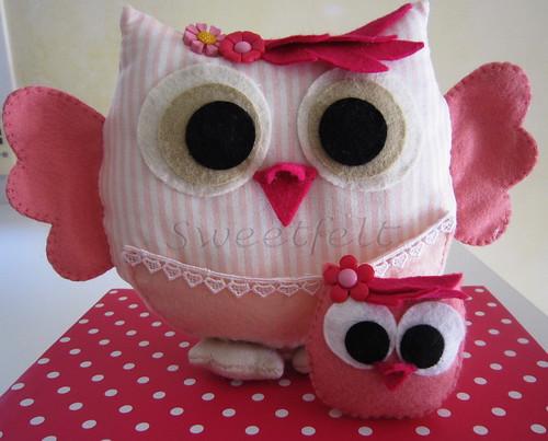 ♥♥♥ Mãe coruja com filhotinha... by sweetfelt \ ideias em feltro