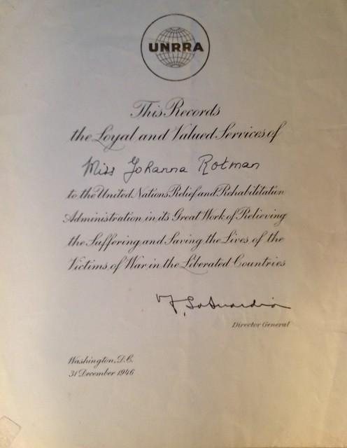 UNNRA Certificate 1946