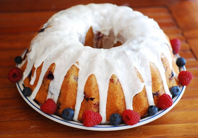 triple berry bundt cake blueberry, raspberry, blackberry, buttermilk, kefir, lemon glaze, frosting