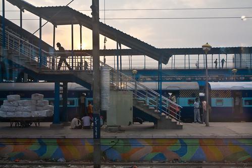 Agra, India Train Station @ Sunrise